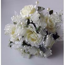 Ramo Novia Ivory Piedras Cristales Perlas Vintage Rosas 25cm