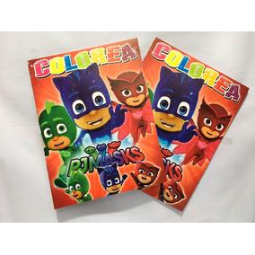 Libro Colorear Carta Fiesta Pj Masks Héroes En Pijamas 16 Pg
