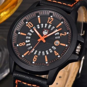 Reloj Análogo Naranja De Cuarzo Con Fecha Hombre, No Subasta