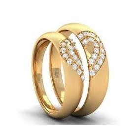 Par De Aliança Dois Corações Em Ouro K 18 E Diamantes