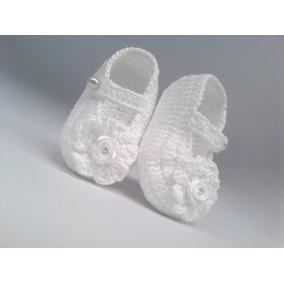 A185 Sapatinho De Croche Feminino Branco Flor Bebe Menina