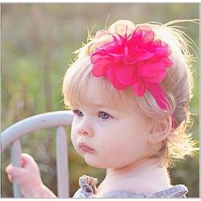 Faixa Tiara Cabelo Bebê Menina Renda Flor Perola Laço
