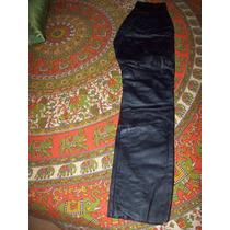 Pantalon Cuero Negro Clasico Usado Mb Forrado 4 Bolsillos