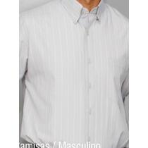Camisa Social Masculina Manga Curta Listrinhas Tam 8 E 9