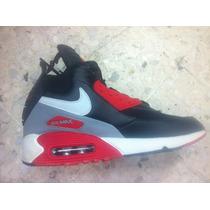 Botas Nike Air Max 90 Sneakerboot Leather Black Red & Plata