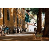 Calles Volar Bicicletas Salto Flaco Vespa Verde Vestido X03