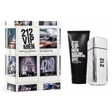 Estojo Kit Perfume 212 Vip Men Carolina Herrera + Gel Banho