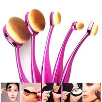 Pincel De Maquiagem Oval Magic Make Com 5 Pincéis - Rosa