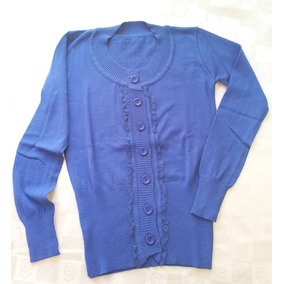 Sweter Saquito Cardigan Dama Escote Redondo Con Botones