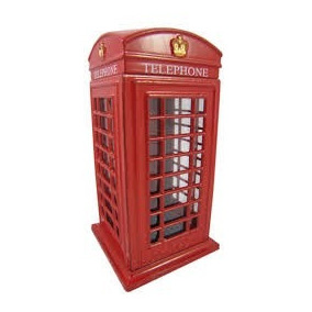 Cofre Cabine Telefone Londres Metal Retro/vintage Menor Preç