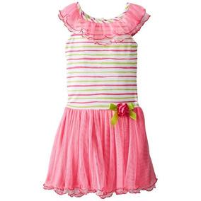 Bello Vestido Para Niñas Con Rayas Y Tul Tallas 5 Y 6x
