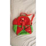Mochila Infantil Elmo Sesame Street Vermelha Verde Pelucia