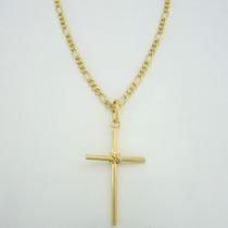 Corrente Folheada A Ouro 18kl Pingente Crucifixo Certificado