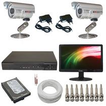 Kit Cftv 2 Câmeras De Vigilância Gravador Dvr + Monitor Led