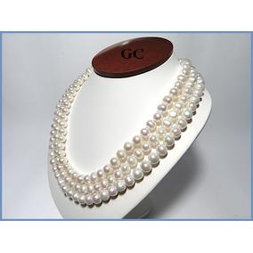 Collar De Perlas Naturales Con Broche De Oro 10k Triple