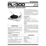 Pioneer Pl 300 Manual De Usuario En Idioma Ingles - Audiomax