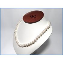 Collar De Perlas Naturales Con Broche De Oro 10k Sencllo