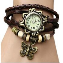 Relógio Vintage Feminino Marrom - Couro Sintético + Pingente