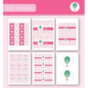 Kit Para Imprimir En Casa! Globito Aerostático En Rosa