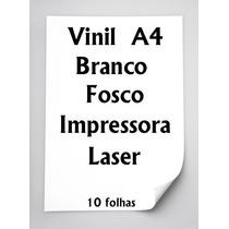 Vinil Adesivo Branco Fosco A4 Impressora Laser 10 Folhas