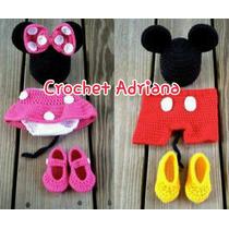 Mickey Minnie Mouse Conjunto Tejido Crochet