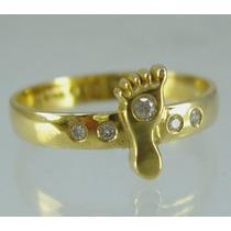 Anel Pé Bebê Ouro Amarelo 18k Com Diamantes