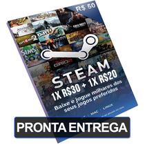 Cartão R$50 Reais Steam Card Br Pré-pago (1x R$30 + 1x R$20)