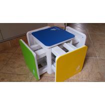 Juego 5 Bancos - Mesa En Cubo Super Resistentes Para Niños