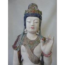 Escultura De Kwan Yin- Madera, Antiguedad China