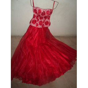Vestido De 15 Años Hermoso, Elegante Largo Doble Falda Rojo