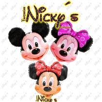 6 Globos Cabeza De Mickey Y Minnie Mouse De 70x65cm,cumple