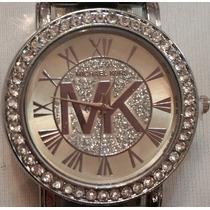 Reloj Mujer Dama Plateado Logo Mk De Moda