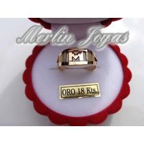 Anillo Oro 18k Inicial - 3 Gramos - Economico - M. J. -