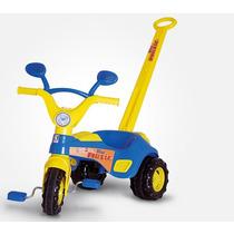 Triciclo Blue Music C/ Empurrador Som Porta Objetos Cotiplás