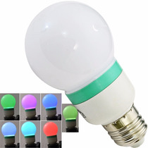 Foco Bulbo Rgb 7 Colores 3w E27 Luz Intermitente 50000 Horas