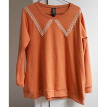 Sweater Buzo Encaje Escote Redondo Coral Tu Puntilla Divino!