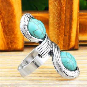 Elegante Anel Ajustável Feminino Pedras Azul Prata M963