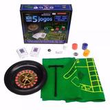 Kit Com 5 Jogos Roleta Baralho Poker Cartas Dados Blackjack
