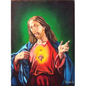 Quadro Sagrado Coração De Jesus Pintura Óleo S/tela 50x70cm