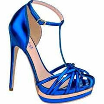 Sandalias Zapatillas Andrea Azul Metalico Tacón De Aguja 15