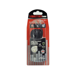 Cable Telefonico Master Plano 4.0 Metros Negro. Envio Gratis