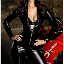 Disfraz/traje Negro De Poliuretano Estilo Gatubela Cat Woman