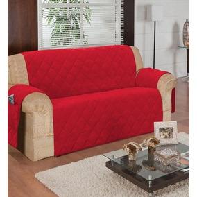 Capa Protetor Sofá Para Sala 3 Lugares - Vermelho