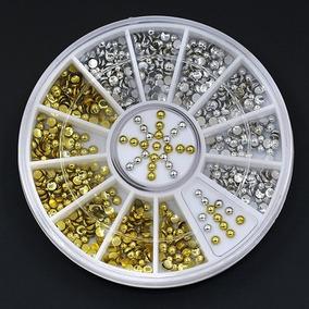 Roda 210 Pçs Prata E Dourado Meia Perola Nail Art Strass N16