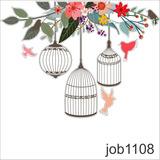Adesivo Decorativo Passaros Gaiola Livre Job0462