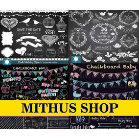 12 Kit Chalkboard -scrapbook Digital - Lousa/giz/quadro Negr