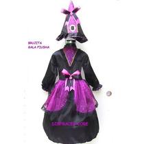 Disfraz Bruja Talla 7/8 Años Fiusha Malla Sombrero Halloween