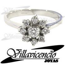 Anillo Oro Blanco 18k 4 Gr Cristales Swarovski - Cod 7520