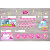 Kit Impreso Peppa Pig Invitaciones Stickers Cartel Banderín
