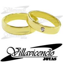 Par Argollas Oro 18k 12 Gr + 1 Diamante 5 Ptos - Cod 1016